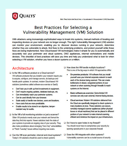 Best Practices for Selecting a Vulnerability Management (VM) Solution
