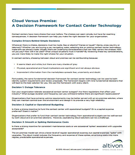 Cloud Versus Premise: A Decision Framework for Contact Center Technology