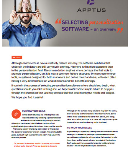 Selecting Personalisation Software - An Overview