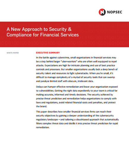 A New Approach to Security & Compliance for Financial Services