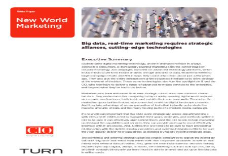Big data, Real-time Marketing Requires Strategic Alliances, Cutting-edge Technologies